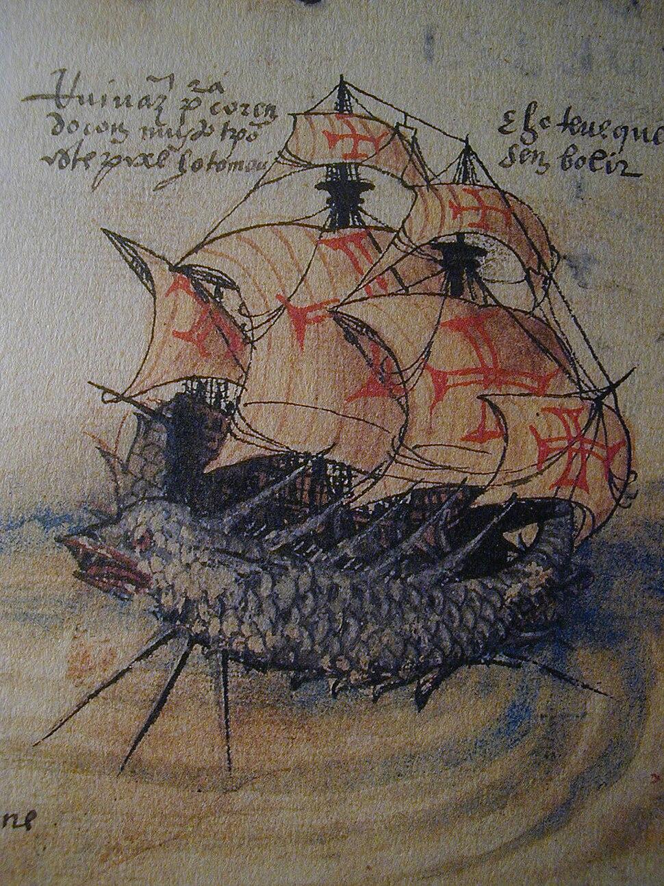 Nau de Rui Vaz Pereira levantada por um monstro marino, armada de 1520. Livro de Lisuarte de Abreu