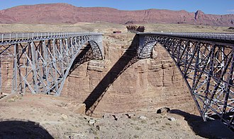 Navajo Bridge - View to east with 1929 bridge at left, 1995 bridge at right, and the Echo Cliffs in the background