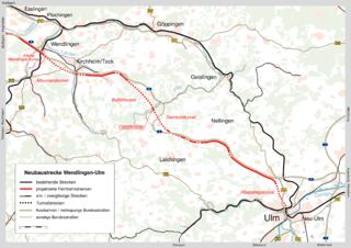 Strecke der Neubaustrecke Wendlingen–Ulm
