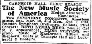 Russian Symphony Orchestra Society - Image: New Music Society of America 1906 ad