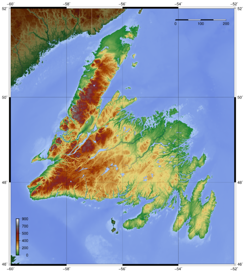 Topography of Newfoundland Newfoundland topo.png