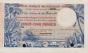 New Hebrides franc - First banknote of New Hebrides