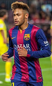 Neymar playing for Barcelona against Villarreal in La Liga cc20eab7d