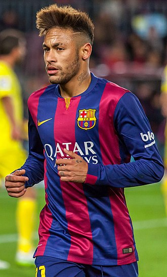 Neymar - Neymar playing for Barcelona against Villarreal in La Liga, 1 February 2015. Neymar opened the scoring in Barcelona's 3–2 win