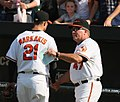 Nick Markakis and Dave Trembley (3872464218).jpg