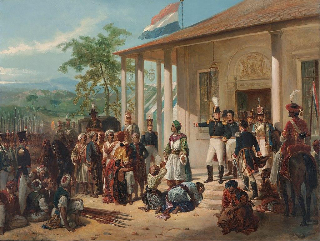 Afbeelding van 'De onderwerping van Diponegoro' een schilderij van Nicolaas Pieneman, Rijksmuseum