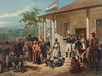 Dutch East Indies - The submission of Prince Diponegoro to General De Kock at the end of the Java War in 1830, painting by Nicolaas Pieneman
