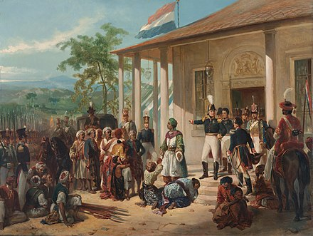 The submission of Diponegoro to General De Kock at the end of the Java War in 1830 Nicolaas Pieneman - The Submission of Prince Dipo Negoro to General De Kock.jpg
