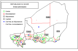 Administrative subdivisions of the Republic of Niger, post 1992.