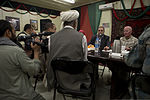 Nimroz provincial Gov. Mohammad Sarwar Subat, center, speaks during a friendship dinner at the Afghan Cultural Center at Camp Leatherneck in Helmand province, Afghanistan, July 25, 2013 130725-M-RF397-275.jpg