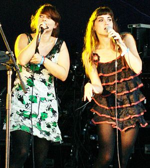Nouvelle Vague (band) - Mélanie Pain (left) and Phoebe Killdeer performing at the Big Chill Festival, 2006