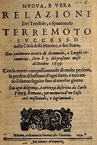 Terremoto Di Amatrice Del 1639 Wikipedia