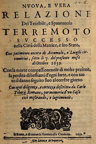 1639 Amatrice earthquake - Carlo Tiberi Romano, New and faithful report of the terrible and frightening earthquake in Matrice and its State (Rome, 1639)