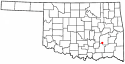 Location of Kiowa, Oklahoma