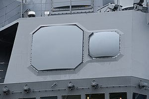OPY-1 radar on bridge of JS Shiranui(DD-120) right front view at JMSDF Naval Base October 14, 2019.jpg