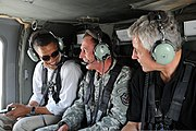 General David Petraeus gives an aerial tour of Baghdad to Barack Obama and Chuck Hagel.