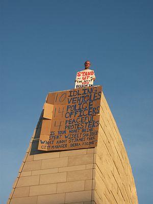 Occupy San José - Occupy San José protester takes to City Hall Rotunda Roof