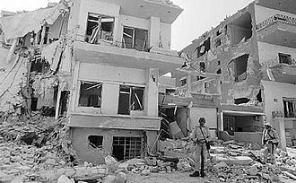 1973 Syrian General Staff Headquarters raid - Syrian soldiers stand guard in the aftermath of the strike