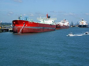 English: Oil Tankers at Marine Terminal Viewed...