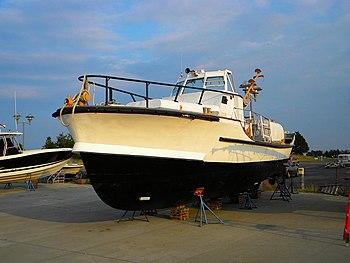 An old Coast Guard Patrol boat in drydock at t...