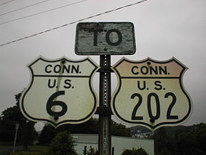 U.S. Route shield - 1948-style shields for US 6 and US 202 in Connecticut, with the state name abbreviated