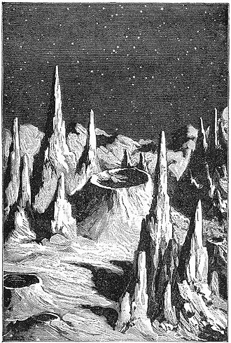 "Selenography - ""Lunar Day"", from the book Recreations in Astronomy by H. D. Warren D. D., 1879. This represents a historical concept of the lunar surface appearance. Robotic missions to the Moon later showed that the surface features are much more rounded due to a long history of impacts."