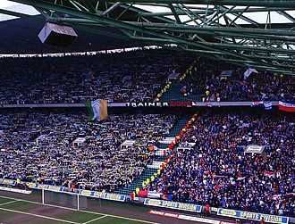 Rangers F.C. - Rangers fans (right) at an Old Firm match away to Celtic in 2004.