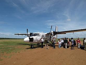 Safarilink Aviation - Safarilink Twin Otter at Mara-Olkiombo airstrip in April 2010