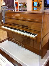 An image of a medium sized brown upright piano in a glass case. The piano keys are exposed.