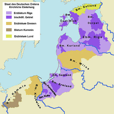 Situation after the conquest in the late 13th century. Areas in purple under control of the Monastic State of the Teutonic Knights Ordensstaat-kirchlich.jpg