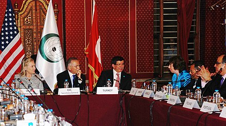 Davutoglu (third left) at the Organisation of Islamic Co-operation Conference in 2011 Organization of Islamic Cooperation (OIC) Conference 2.jpg