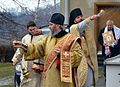 Orthodox priest blesses the Tserkva, Epiphany in Poland.JPG