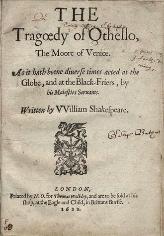 Othello - Title page of the first quarto (1622)