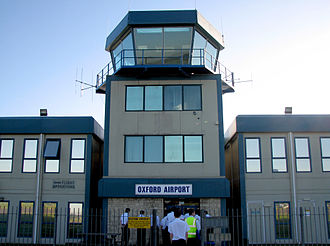 Oxford Aviation Academy - The air traffic control tower at London Oxford Airport.