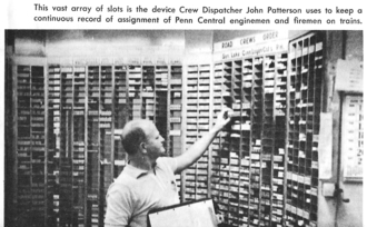 Dispatcher - Penn Central Southern Region (Columbus Division) Crew Dispatcher John Patterson is in his office at Hilliard Yard, Ohio keeping track of train crew assignments for the 60 crews a day passing thru this relief point.
