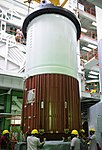PSLV-C30 First stage Nozzle End Segment being placed on launch pedestal..jpg