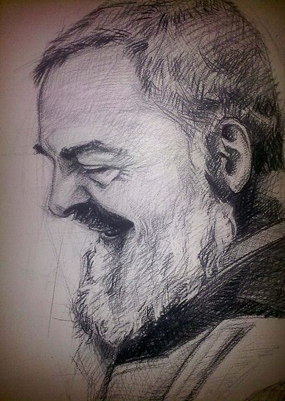 "A strong believer in Christian meditation, Padre Pio of Pietrelcina stated: ""Through the study of books one seeks God; by meditation one finds him"". Padre Pio portret.jpg"