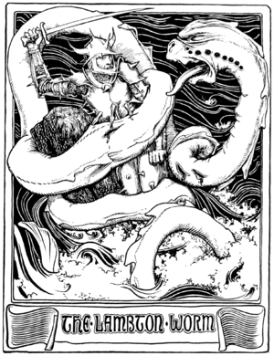 Lambton Worm - Illustration by John Dickson Batten from More English Fairy Tales