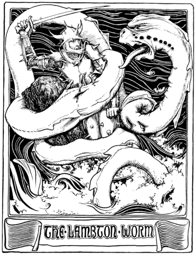 A drawing of The Childe fighting The Lambton Worm, drawn by John D. Batten for Jacob's gathering of More English Fairy Tales.