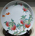 Pair of dishes with fruiting and flowering peach branches, 1 of 2, China, Jingdezhen kiln, Qing dynasty, Yongzheng period, 1723-1735, famille rose enamels - Matsuoka Museum of Art - Tokyo, Japan - DSC07308.JPG