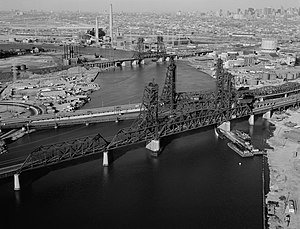 Aerial view of the vertical lift bridges spann...