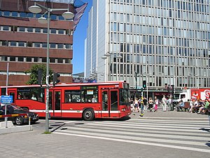 Public transport in Stockholm - A city bus at Sergels torg