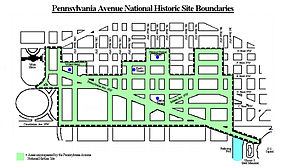 Map showing the location of Pennsylvania Avenue National Historic Site