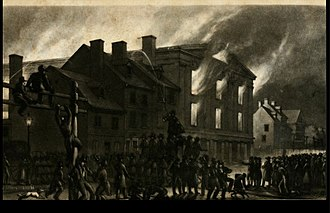 Pennsylvania Hall (Philadelphia) - Pennsylvania Hall burning