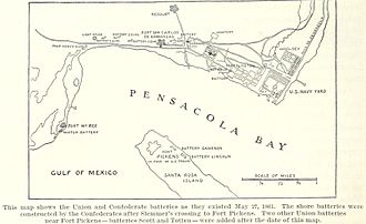 Naval Air Station Pensacola - Forts and batteries near the Navy Yard on 27 May 1861