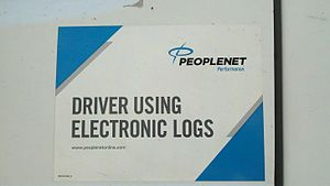 Electronic on-board recorder - EOBR sticker on truck