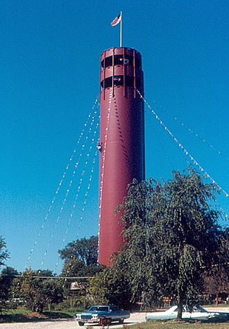Peoria Heights, Illinois - Tower Park water tower, 1970