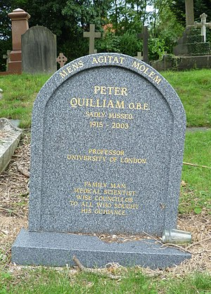 Peter Quilliam (pharmacologist) - Peter Quilliam's grave at St Andrew's church, Totteridge.