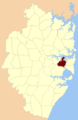 Petersham Parish Cumberland county locator.png
