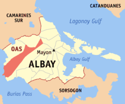 Map of Albay with Oas highlighted